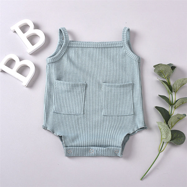 Baby Girls Solid Color Pocket Sling Romper Wholesale Baby Boutique Items