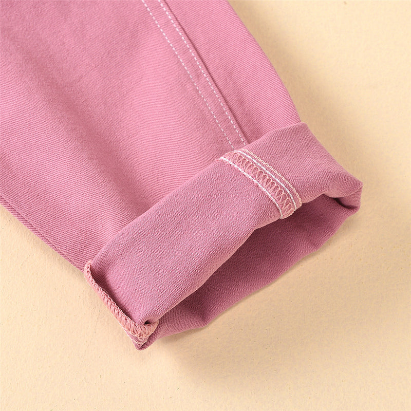 Girls Solid Color Pocket Trousers Wholesale Little Girl Boutique Clothing