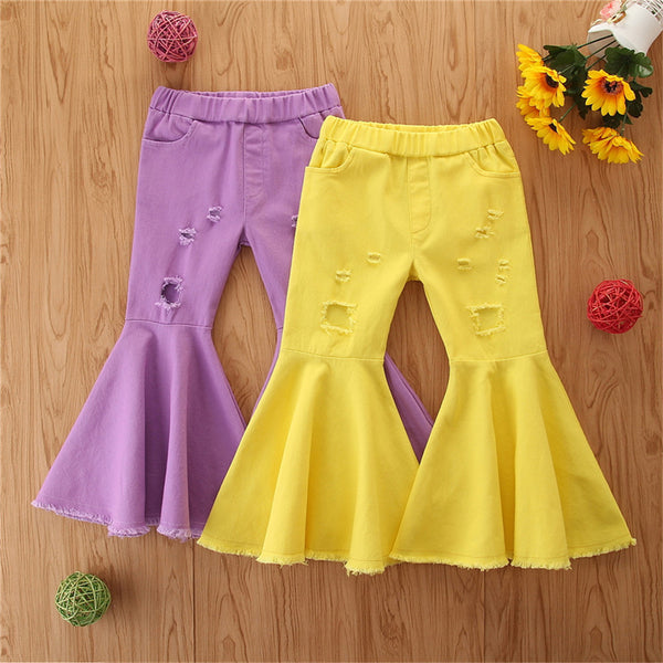 Girls Solid Color Ripped Flare Jeans Wholesale Baby Girl Clothes