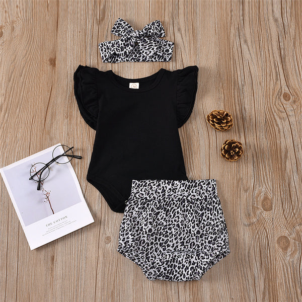 Baby Girls Solid Color Romper & Leopard Shorts & Headband bulk baby clothes