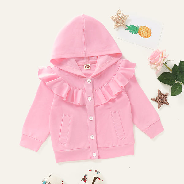 Baby Girls Solid Color Ruffled Long Sleeve Button Hoodie Jacket Baby Clothes Cheap Wholesale