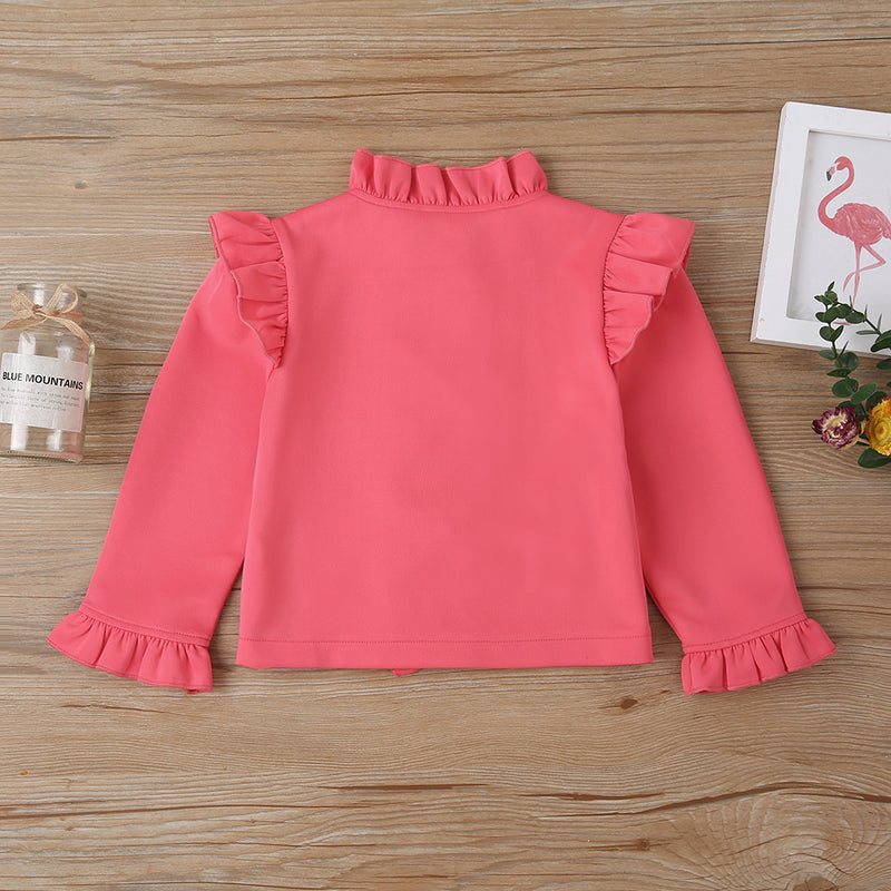 Girls Solid Color Ruffled Long Sleeve Jacket Wholesale Baby Girl Boutique Clothing