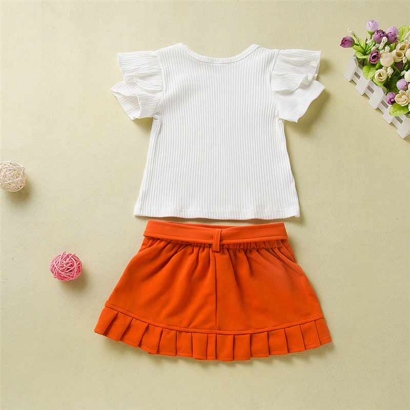 Girls Solid Color Ruffled Short Sleeve Top & Skirt Girls Boutique Clothes Wholesale