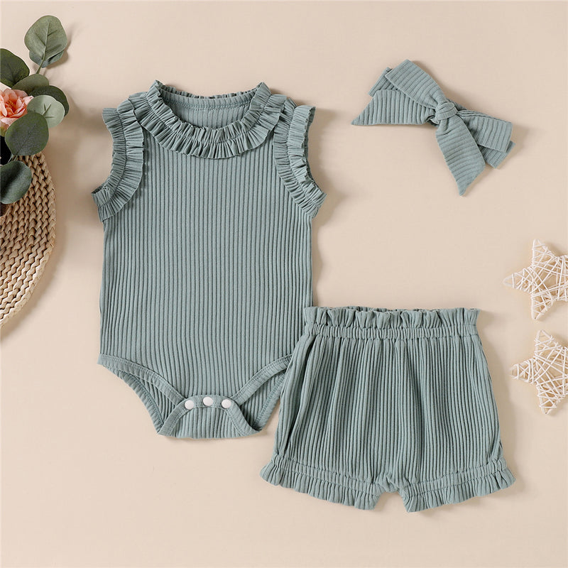 Baby Girls Solid Color Ruffled Sleeveless Romper & Shorts & Headband Baby Wholesale