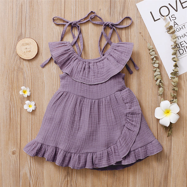 Baby Girls Solid Color Ruffled Suspender Dress Baby Clothing Wholesale Distributors