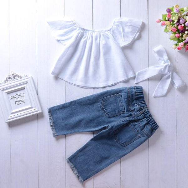 Girls Solid Color Ruffled Top & Ripped Jeans Girls Clothes Wholesale
