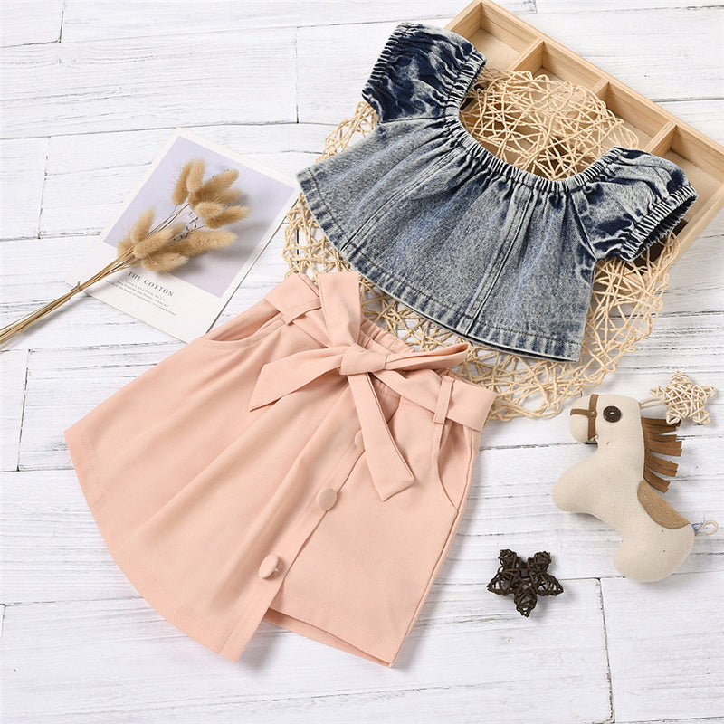 Girls Solid Color Short-sleeve Off Shoulder Top & Irregular Skirt Trendy Kids Wholesale Clothing