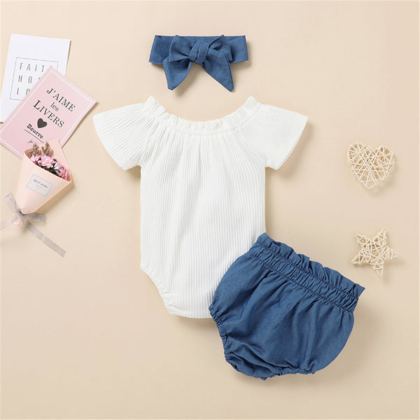Baby Girls Solid Color Short Sleeve Button Romper & Shorts & Headband cheap baby clothes wholesale