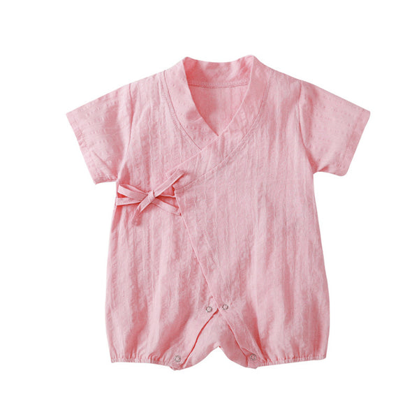 Baby Girls Solid Color Short Sleeve Cardigan Romper Baby Clothing Wholesale Distributors