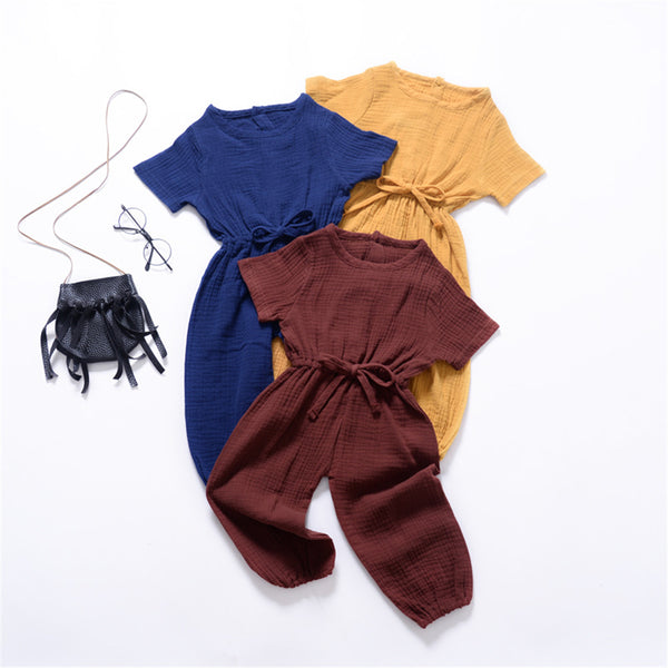 Unisex Solid Color Short Sleeve Casual Jumpsuit wholesale childrens clothing
