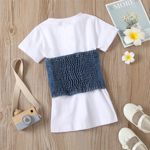 Girls Solid Color Short Sleeve Dresses & Denim Button Waistcoat Wholesale Girl Clothing