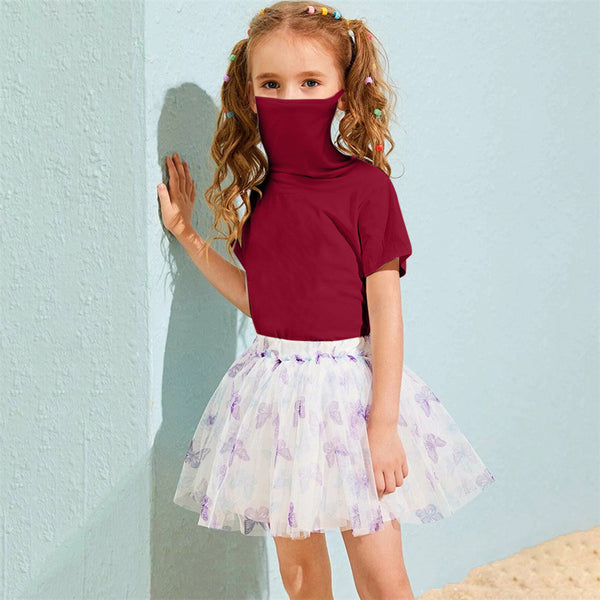 Unisex Solid Color Short Sleeve Mask Style T-Shirts Wholesale Kids Clothing Distributors