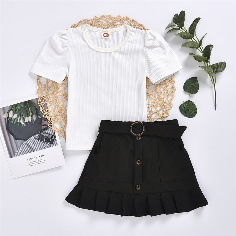 Girls Solid Color Short Sleeve Pullover Top & Skirts Girls Clothing Wholesale