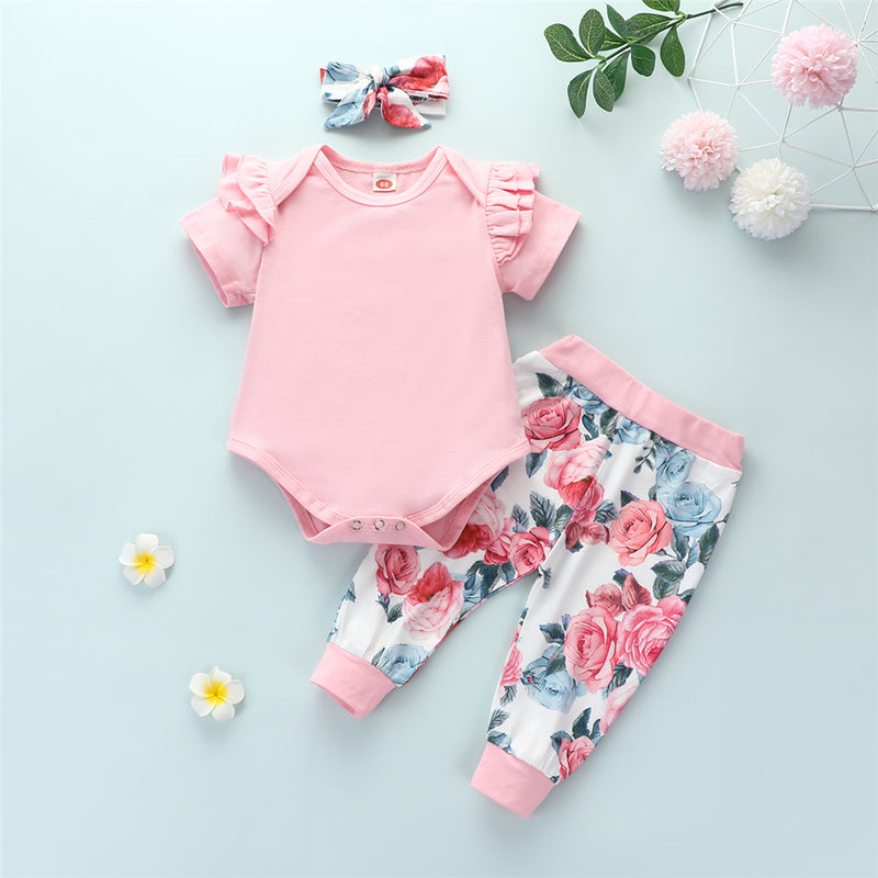 Baby Girls Solid Color Short Sleeve Romper & Floral Pants & Headband Baby Wholesale Clothing Suppliers