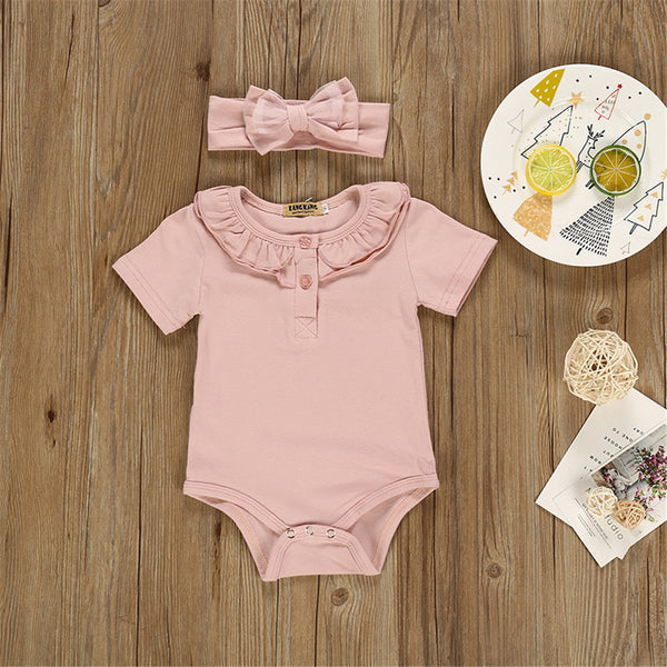 Baby Girls Solid Color Short Sleeve Romper & Headband Buy Baby Clothes Wholesale