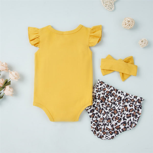 Baby Girls Solid Color Short Sleeve Romper & Leopard Shorts & Headband wholesale baby clothes