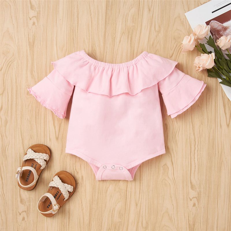 Baby Girls Solid Color Short Sleeve Ruffled Romper & Bow Pants Baby Clothes Warehouse