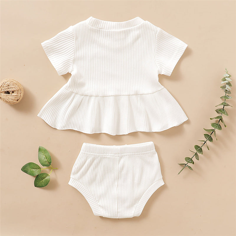Baby Girls Solid Color Short Sleeve Top & Shorts Baby Clothing Cheap Wholesale