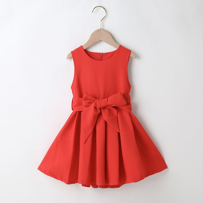 Girls Solid Color Sleeveless Casual Belt Dress Wholesale Little Girl Dresses