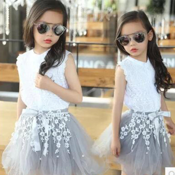Girls Solid Color Sleeveless Lace Button Top & Tulle Skirt Toddler Girls Wholesale