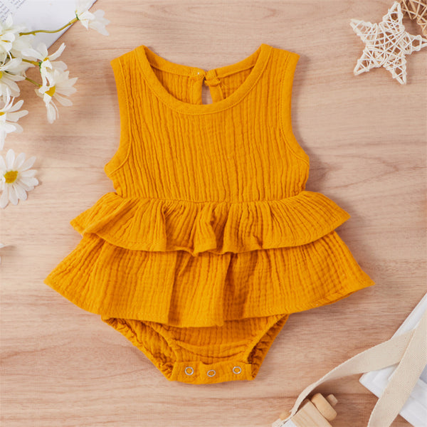 Baby Girls Solid Color Sleeveless Layered Romper wholesale baby clothes