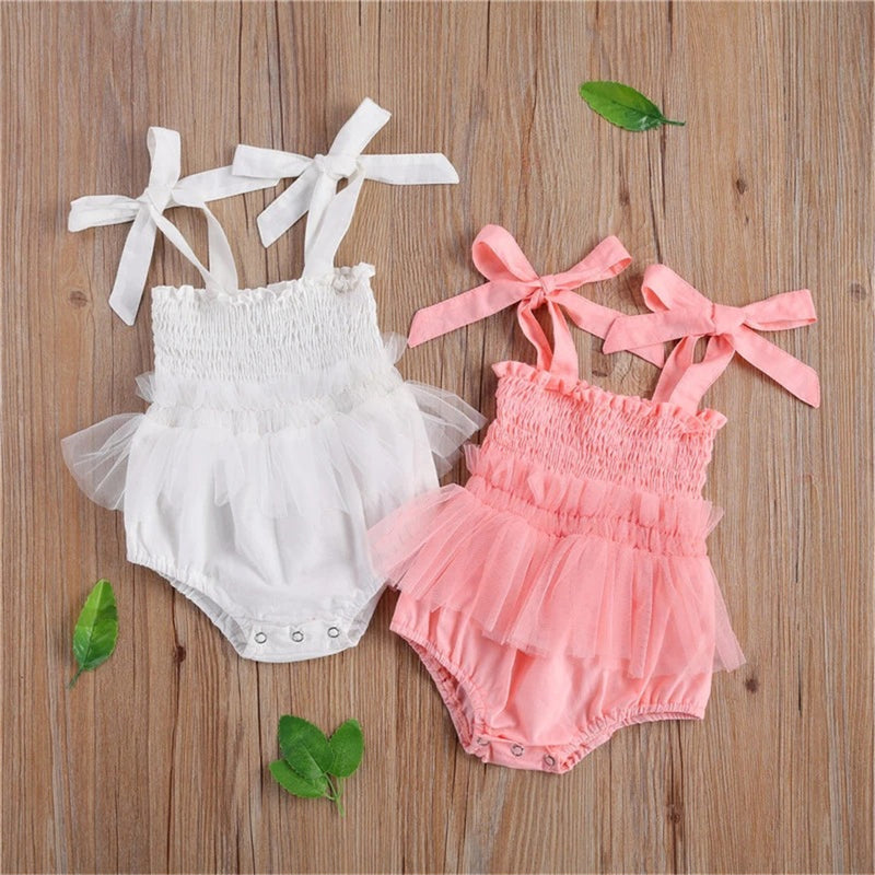 Baby Girls Solid Color Sleeveless Mesh Romper Baby Clothes Vendors