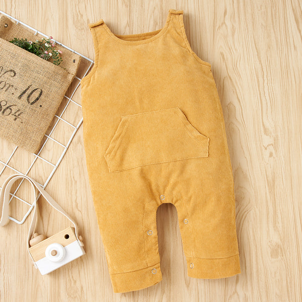 Baby Unisex Solid Color Sleeveless Pocket Romper Cheap Baby Clothes Online Wholesale
