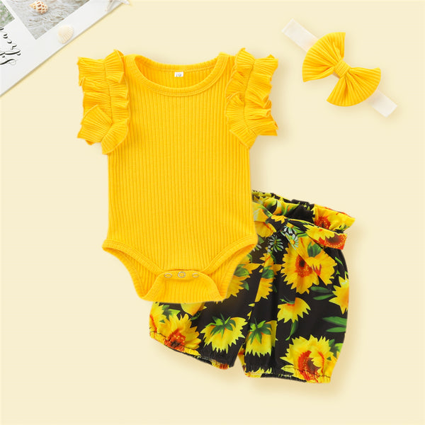 Baby Girls Solid Color Sleeveless Romper & Floral Shorts & Headband Baby Boutique Clothes Wholesale