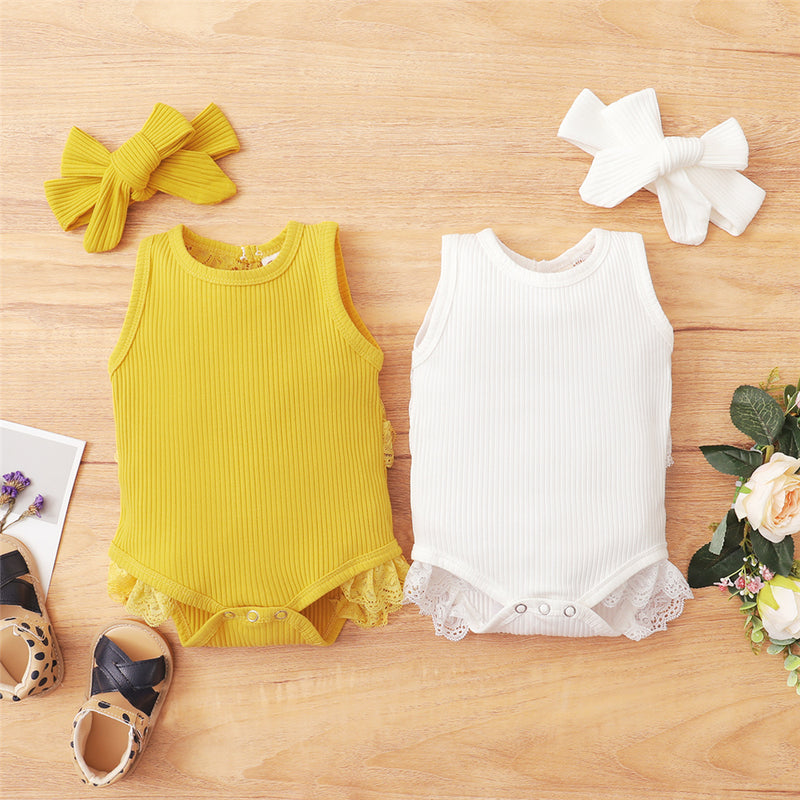 Baby Girls Solid Color Sleeveless Romper & Headband Baby Clothes Wholesale Bulk