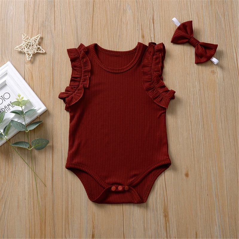 Baby Girls Solid Color Sleeveless Romper & Headband Baby Wholesale Clothes