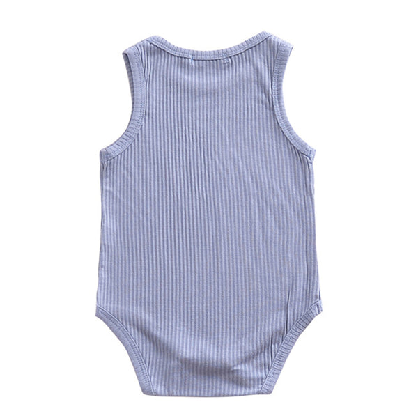 Unisex Solid Color Sleeveless Romper baby clothes wholesale distributors