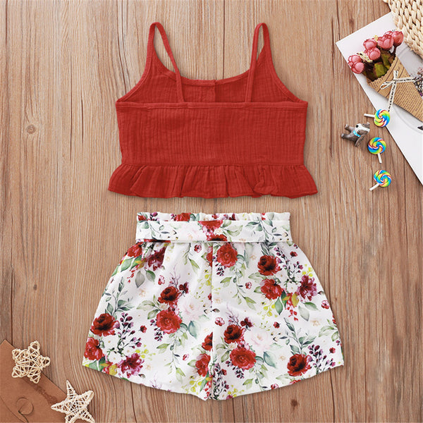 Girls Solid Color Sleeveless Top & Floral Shorts Girl Boutique Clothing Wholesale