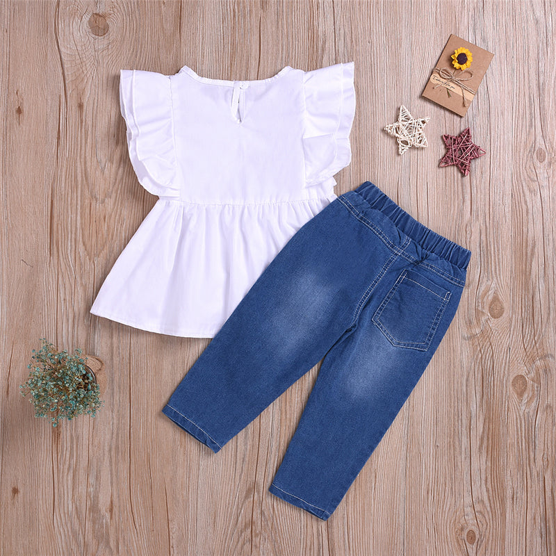 Girls Solid Color Sleeveless Top & Pearl Jeans Toddler Girls Wholesale