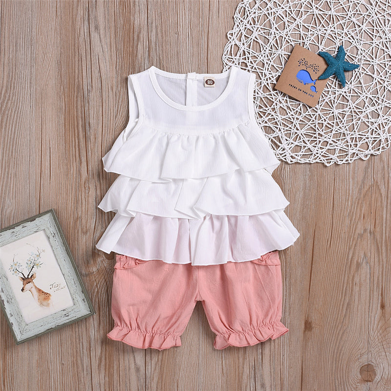 Baby Girls Solid Color Sleeveless Top & Pink Shorts Baby Clothes Cheap Wholesale