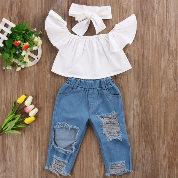 Girls Solid Color Sleeveless Top & Ripped Jeans & Headband Kids Wholesale Clothing