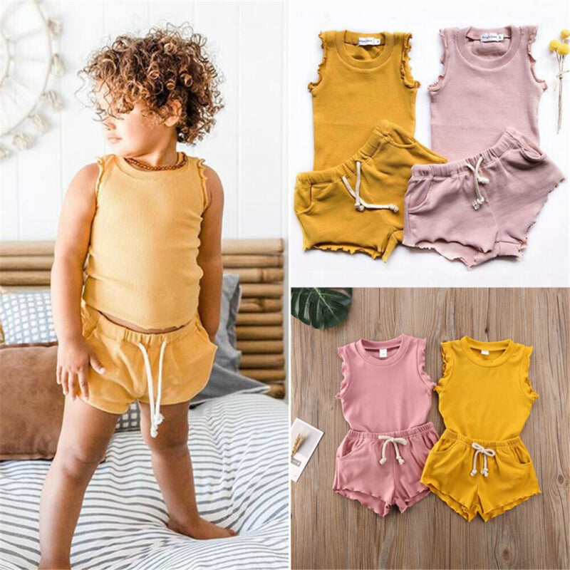 Baby Girls Solid Color Sleeveless Top & Shorts Baby Clothing In Bulk