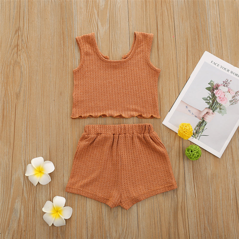 Girls Solid Color Sleeveless Top & Shorts childrens wholesale clothing