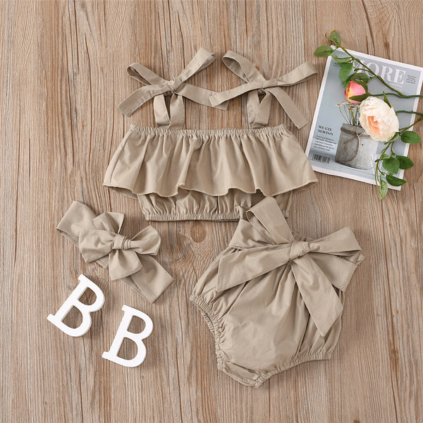 Baby Girls Solid Color Sling Top & Bow Shorts & Headband wholesale infant clothing