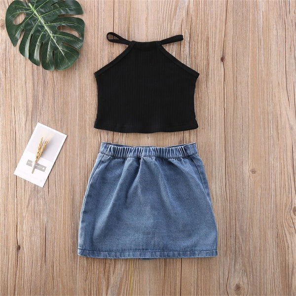 Girls Solid Color Sling Top & Button Denim Skirt Trendy Kids Wholesale Clothing