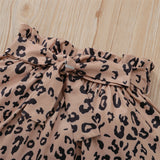 Girls Solid Color Sling Top & Leopard Printed Skirt Kids Wholesale Clothing