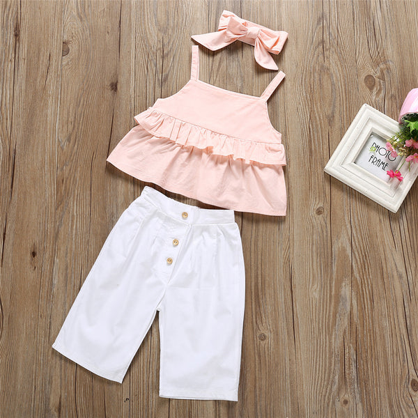 Girls Solid Color Sling Top & Pants & Headband Girls Clothing Wholesalers