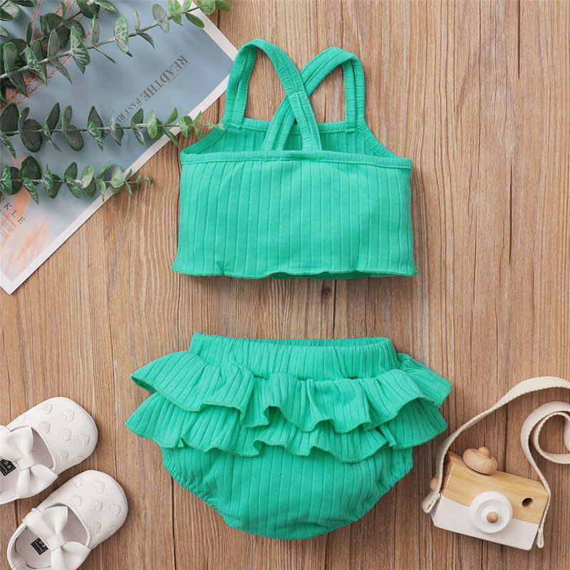 Baby Girls Solid Color Sling Top & Ruffled Shorts Baby Clothes Suppliers