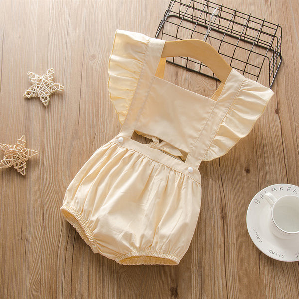 Girls Solid Color Summer Sleeveless Tie Up Jumpsuit Wholesale Little Girl Boutique Clothing