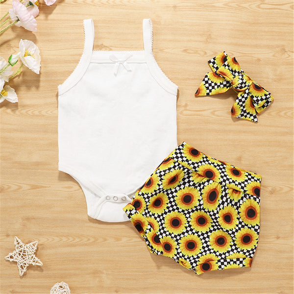 Baby Girls Solid Color Tank Romper & Sunflower Shorts & Headband Boutique Baby Clothes Wholesale