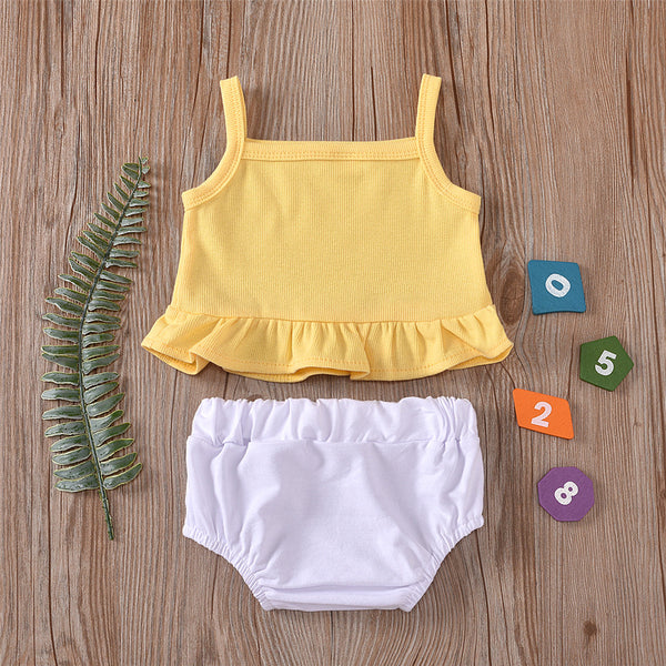 Baby Girls Solid Color Tank Top & Shorts cheap baby clothes wholesale