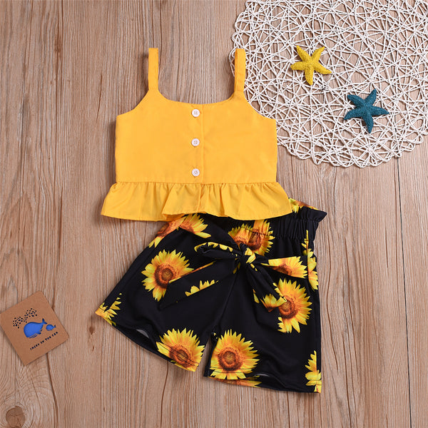 Girls Solid Color Tank & Sunflower Printed Shorts Wholesale Girl Clothing