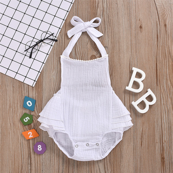 Baby Girls Solid Color Tie Up Romper baby clothes wholesale usa