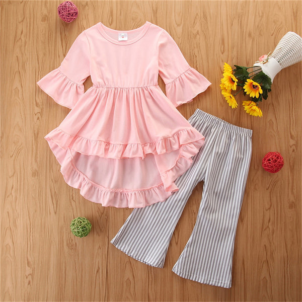 Girls Solid Color Top & Striped Trousers Wholesale Girls Clothing