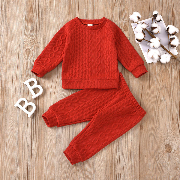 Unisex Solid Color Twist Long Sleeve Top & Pants Kids Wholesale Clothing