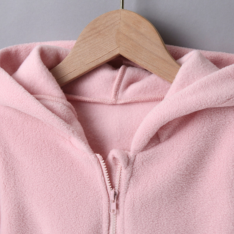 Girls Solid Color Zipper Long Sleeve Hooded Dress wholesale childrens clothing online